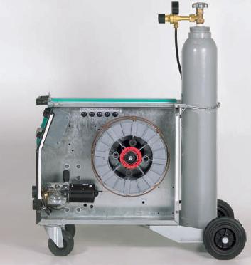 Механизм подачи проволоки и катушка для про- волоки легко доступны.